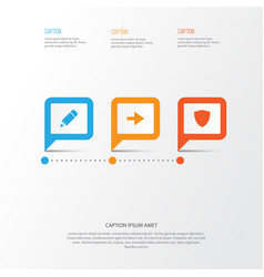 user icons set collection of safe pencil ahead vector image