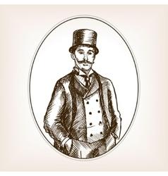 Vintage gentleman sketch style vector