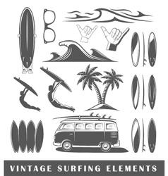 Vintage surfing elements vector image