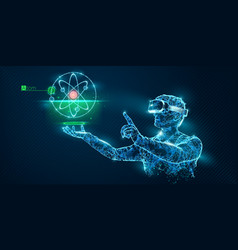 vr wireframe headset man with atom banner vector image