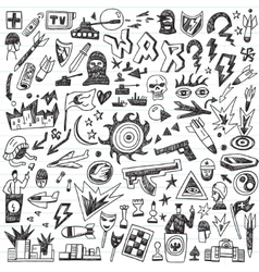 War - doodles set vector