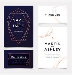 wedding invitation art deco style invite thank vector image