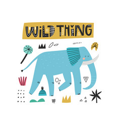 Wild thing lettering inscription cute blue vector