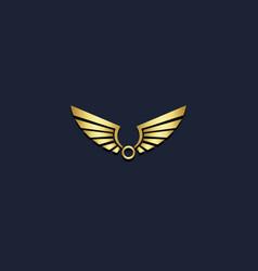 wing gold emblem freedom logo vector image