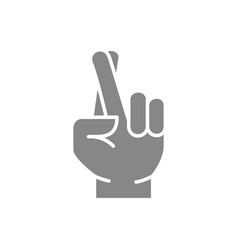 Wish for luck gray icon crossed fingers symbol vector