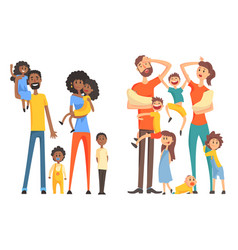 Young afro-american and caucasian family cheerful vector