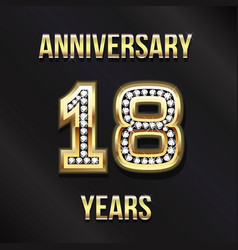 18 years anniversary card design vector image vector image