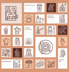 coffee making equipment line icons tools - vector image