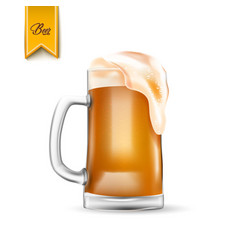 realistic 3d beer glass with thick foam vector image