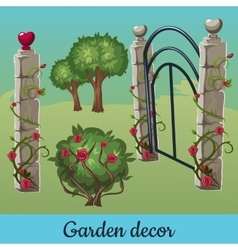 Set of old stone fences with plants vector image
