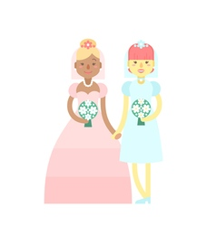 Wedding couple Cute flat characters brides vector image vector image