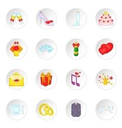 Wedding icons set cartoon style vector image vector image