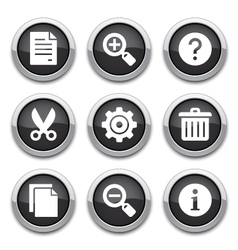 black basic application buttons vector image vector image