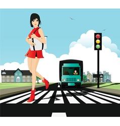 Crosswalk and traffic signals vector image vector image