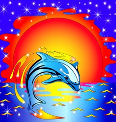 Dolphin Sunset Background vector image vector image