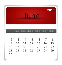 2013 calendar June vector image