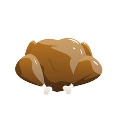baked turkey isolated on white background vector image