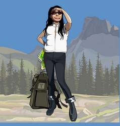 Cartoon female hiker with backpack looking vector