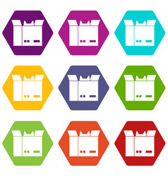 cat in a cardboard box icon set color hexahedron vector image vector image