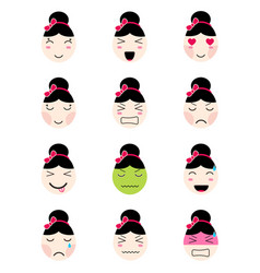 Cute emoji collection kawaii asian girl face vector