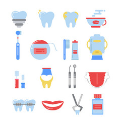 dental icon set anatomy pictures isolate vector image vector image