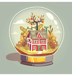 House in glass globe vector image vector image