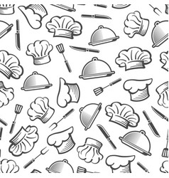 kitchen seamless pattern - chef hat dish and vector image