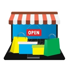Online store shopping bags vector