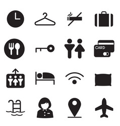 silhouette hotel hostel motel icons vector image vector image