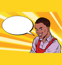 worker in apron says the comic book bubble vector image