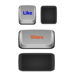 Like and share keyboard buttons on white vector image vector image