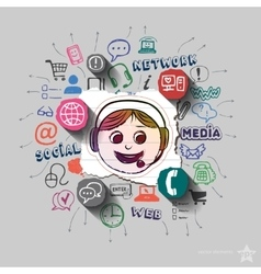 Operator and collage with web icons background vector image vector image