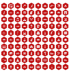 100 world tour icons hexagon red vector