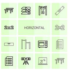 14 horizontal icons vector