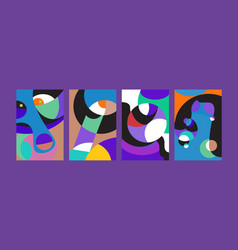 Abstract colorful geometric and curvy pattern vector