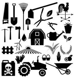Agricultural equipment and farm set vector image