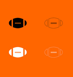 American football ball black and white set icon vector