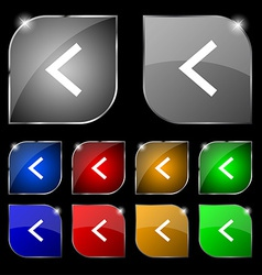 Arrow left Way out icon sign Set of ten colorful vector image