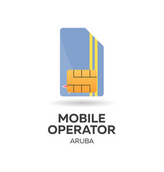 Aruba mobile operator sim card with flag vector