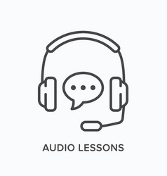 Audio lessons line icon outline vector