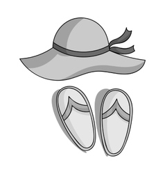 Beach hat with flip-flops icon in monochrome style vector