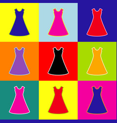 beautiful long dress sign pop-art style vector image