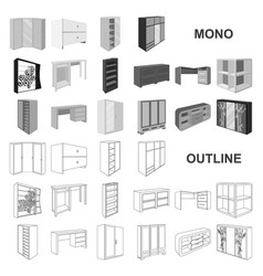 Bedroom furniture monochrom icons in set vector