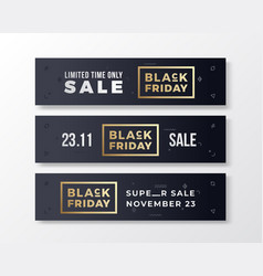 black friday stylish premium banners set modern vector image