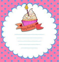 Border design with pink cupcake vector