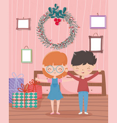 boy and girl with gifts wreath frames living room vector image