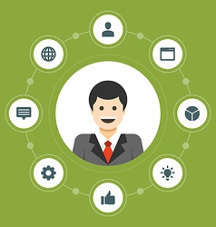 Business man concept and flat icons set thumbs up vector image
