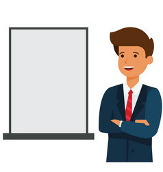 business man showing blank advertising board vector image