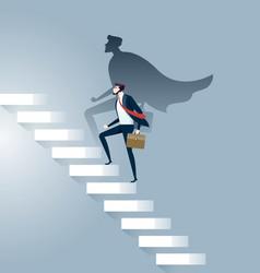 businessman superhero successful in career ladder vector image