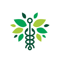 caduceus leaf snake logo icon vector image